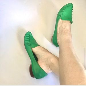 JEFFREY CAMPBELL green moccasins leather loafer 10
